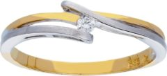 Glow Gouden Ring - Bicolor Mat Glanzend Diamant 1-0.03ct G/si 214.5205.58