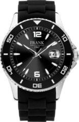 Frank 1967 7FW-0017 - Stalen horloge met een siliconen band - zwart en zilverkleurig - Ø 44 mm