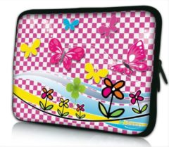Roze False Sleevy 13.3 laptophoes speelse vlindertjes - Laptop sleeve - Macbook hoes - beschermhoes