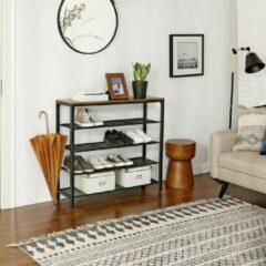 Trend24 - Schoenenrek met 5 planken - Vintage - Vintage Hout - Rustiek Bruin