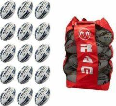 RAM Rugtby Gripper rugbybal bundel - Wedstrijd/training - Met draagtas - Maat 4 - Fluor - 15 stuks