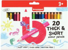 Bruynzeel Kids korte dikke kleurpotloden, set van 20 stuks in geassorteerde kleuren