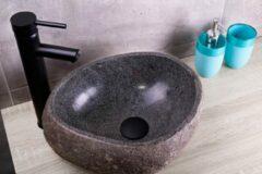 Saniclear riviersteen waskom set incl. hoge kraan zwart