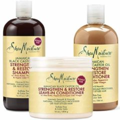 Shea Moisture Jamaican Black Castor Oil Combination Pack – Strengthen, Grow & Restore – Shampoo, 13.0 Oz, Conditioner 13 Oz. & Leave-In Conditioner 11 Oz