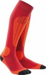 Donkerrode CEP Ski Thermo compressiesokken (cranberry/oranje)-Vrouw-Maat II: 25 - 31 cm