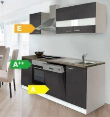 Respekta kitchen economy Respekta Küchenzeile KB220WG 220 cm Weiß - Grau