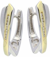 Goudkleurige Elegance Zilveren klap-oorringen Gouden-plating en zirkonia 107.5155.00