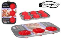 Rode San ignacio siliconen leuke bakvorm set!