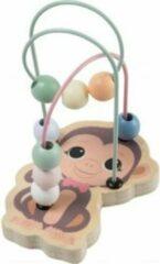 Jouéco Kralenbaan aapje-voor de allerkleinsten-kleine kralenbaan-12.5cm hoog-Minikralenbaan-kralenspiraal