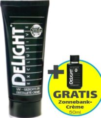 Zonnebankcrème | Delight Exclusive Gezichts- & decolleté crème - 100 ml (Bescherming tegen zonne-allergie, blaasjes) - Actie; Gratis 50ml Zonnebank Tanning Milk