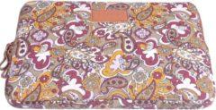 Kinmac – Laptop Sleeve met Paisley print tot 14 inch – 36,5 x 25,5 x 1,5 cm - Beige/Rood