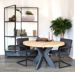 """M2-meubels Eikenhouten eettafel """"Rond OldStyle"""" - Matrix-onderstel - Ø120cm   Industrieel"""