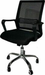 Domo Meubelen Bureaustoel voor volwassenen - Met chrome onderstel, lendensteun en vaste armen - In hoogte verstelbaar - Zwart