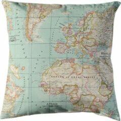 Lichtblauwe Cottonbaby sierkussenhoes Landkaart 40x40 cm