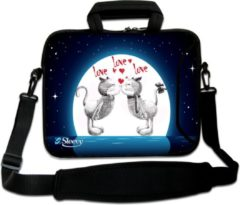 Blauwe False Sleevy 17,3 laptoptas love love love... - laptophoes voorvak - laptop sleeve - smalle laptoptas - reistas - schoudertas - schooltas - heren dames tas - tas laptop