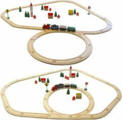Rode Eyepower 48-delige kinderspeelgoedspoorwegspeelgoedspoorweg met 48-delige houten speelgoedspoorweg, natuurlijk hout, kinderspoorwegset incl. accessoires