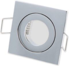 Ledin LED line Inbouwspot - Vierkant - Waterdicht IP44 - MR11 Fitting - 55x55 mm - Chroom