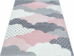 Bambi Vloerkleed - Clouds - Rechthoek - Roze - 80 x 150 cm - Vintage, Patchwork, Scandinavisch & meer stijlen vind je op WoonQ.nl