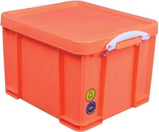 Afbeelding van Really Useful Box opbergdoos 35 liter neon oranje met witte handvatten