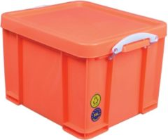 Really Useful Box opbergdoos 35 liter neon oranje met witte handvatten