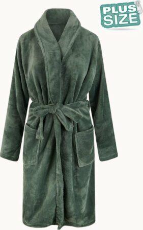 Afbeelding van Relax Company Grote maten badjas unisex - sjaalkraag badjas van fleece - Plus size - groen 3X/4XL