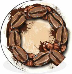 WallCircle Een illustratie van de letter Q van koffiebonen Wandcirkel aluminium ⌀ 30 cm - foto print op muurcirkel / wooncirkel / tuincirkel (wanddecoratie)