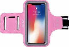 ATHLETIX Sportarmband - Universele Hardloop Armband - iPhone, Samsung & Huawei - Reflecterend, Spatwaterdicht, Sleutelhouder, Verstelbaar - Neopreen - Roze Sportarmband