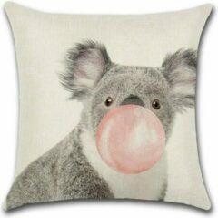 Roze By Javy Kussenhoes Animal Party - Koala met ballon - Kussenhoes - 45x45 cm - Sierkussen - Polyester