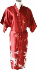TA-HWA Kimono met Kraanvogels Rood Dames Nachtmode kimono S