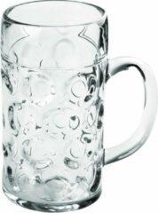 Transparante Santex Oktoberfest 1x Bierpullen/bierglazen halve liter/50 cl/500 ml van onbreekbaar kunststof - 0,5 liter pullen - Bierfeest/Oktoberfest pul - Bierpul glazen