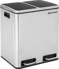 Zilveren Songmics Prullenbak 30L - Pedaalemmer - Roestvrij Staal - Afvalscheidingssysteem - 2 x 15 liter