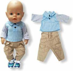 Blauwe Isa's Friends Poppenkleding jongen - Baby Born kleertjes o.a. - Poppenkleertjes 43 cm - Polo met broekje - Gratis verzending