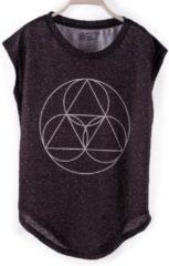 Antraciet-grijze BiggDesign BiggYoga-Namaste-Shirt-Zwart met geometrisch opdruk-Zacht katoen- S