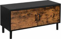MIRA Home - Schoenenkast - Schoenenkast met deur - Industrieel - Spaanplaat/Metaal - Zwart - 100x35x38