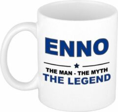 Bellatio Decorations Naam cadeau Enno - The man, The myth the legend koffie mok / beker 300 ml - naam/namen mokken - Cadeau voor o.a verjaardag/ vaderdag/ pensioen/ geslaagd/ bedankt
