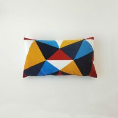 Swan Spring Raw Earth Abstract | Kussen | Blauw | Rood | Geel | Wit | 30 x 50cm