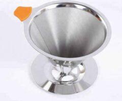 Oranje 't Stekje Herbruikbaar koffiefilter met koffieschep | Koffiefilterhouder permanent | Koffie zetten | Filterkoffie pour over | 1-4 koppen | Wasbaar koffie filter| Reis/camping koffiefilter | Direct vandaag verzonden
