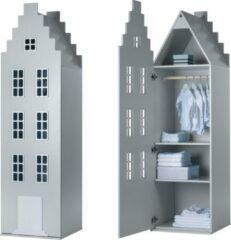 Zilveren Trapgevel kast Amsterdam. Kast van een Huis. 198/55/55 cm. Silver.