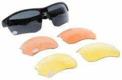 Urbanium Terra 2.5 bifocale zonnebril met extra sets oranje en gele avond- en nachtglazen voor auto- en motorrijders. Sterkte +2.50, UV400