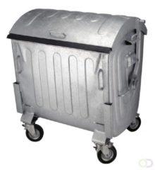 Grijze VDZ Afvalcontainer 1100 liter staalverzinkt rond deksel - vier wiel container - 2 wielen geremd