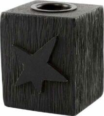 Zwarte VTWonen - Candle Block Star Wood Black 5x5x6cm