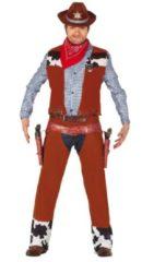 Bruine Guirca Cowboy & Cowgirl Kostuum | Rodeo Kampioen Cowboy | Man | Maat 48-50 | Carnaval kostuum | Verkleedkleding