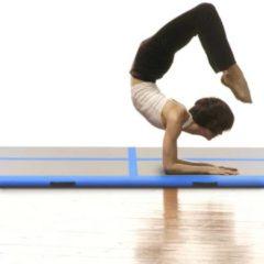 VidaXL Gymnastiekmat met pomp opblaasbaar 400x100x10 cm PVC blauw