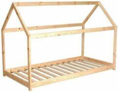 Beige Autre PANDA Cabin kinderbed - Junior stijl - Natuurlijk massief grenen hout - Inclusief sparren houten bedframe - B 90 x B 190 cm