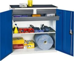 Stumpf Metall Stumpf® Serie 3000 Werkzeugschrank mit 3 Schubladen und 1 Wannenboden, lichtgrau / blau - 100 x 50 x 50 cm