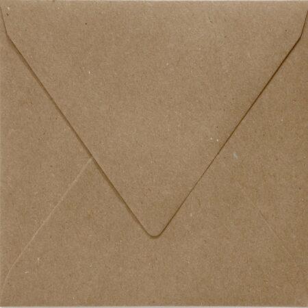 Afbeelding van Paper For Moments 50x luxe wenskaartenveloppen vierkant 160x160 mm - 16,0x16.0 cm - 110 grams 100% recycled bruin kraft