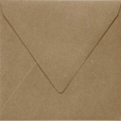 Paper For Moments 50x luxe wenskaartenveloppen vierkant 160x160 mm - 16,0x16.0 cm - 110 grams 100% recycled bruin kraft