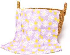 Happy Flute Swaddle doek XL - Bloemen Paars | Inbaderdoek | Hydrofiele doek