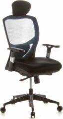 Hjh office Bureaustoel - Verstelbare Armleuning - Stof - Blauw/Zwart - Ergonomisch