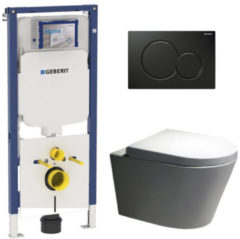 Douche Concurrent Geberit UP720 Toiletset - Inbouw WC Hangtoilet Wandcloset Rimfree - Saturna Sigma-01 Zwart